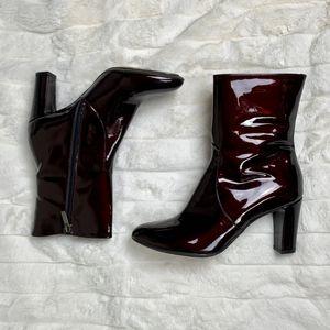 Aquatalia Burgundy Patent High Heel Boots Size 9.5
